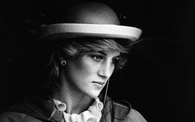 Princess Diana, Princess of Wales, portrait, monochrome, United Kingdom, Diana Frances Spencer