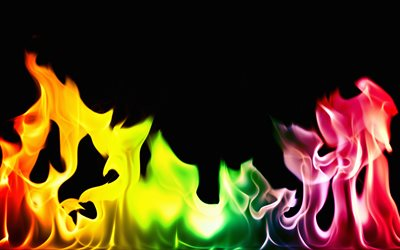colorful fire, 4k, rainbow, flames, black background, fire