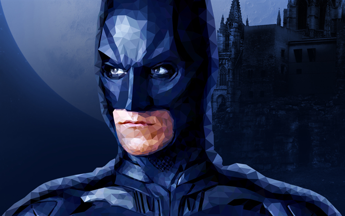 Batman, close-up, low poly art, superheroes, Bat-man, cartoon batman