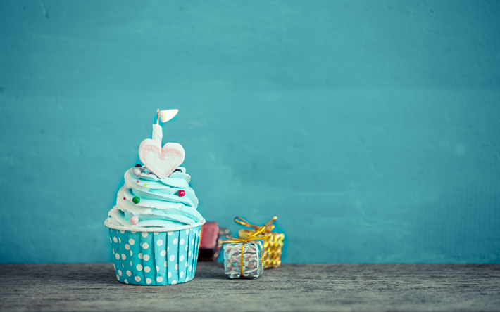 Download Wallpapers Happy Birthday Cupcake With Blue