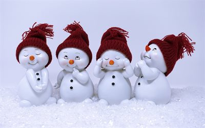 Snowmen, winter, snow, toys, emotions snowmen, New Year
