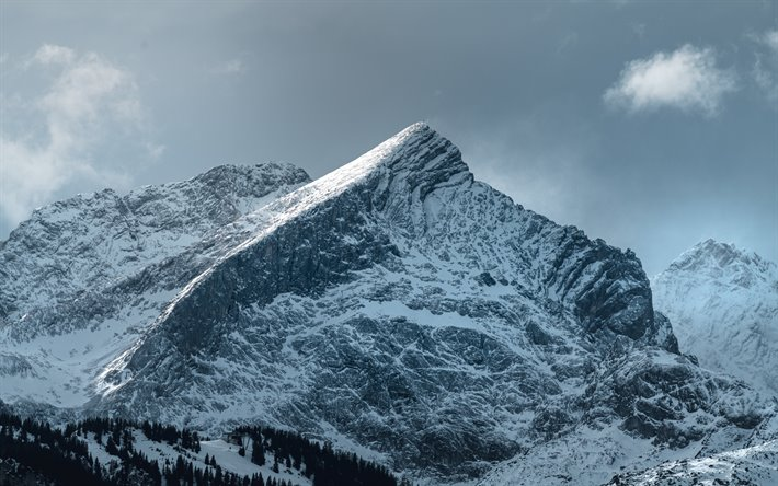 Download Wallpapers Snow Covered Rock Winter Mountain
