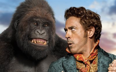 Dolittle, 2020, poster, promotional materials, Robert Downey Jr, gorilla, main characters