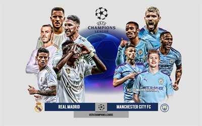 Real Madrid vs Manchester City FC, UEFA Champions League, Preview, promotional materials, football players, Champions League, football match, logos, Real Madrid, Manchester City FC, Eden Hazard, Gareth Bale
