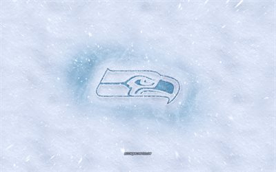 Seattle Seahawks logo, American football club, winter concepts, NFL, Seattle Seahawks ice logo, snow texture, Seattle, Washington, USA, snow background, Seattle Seahawks, American football