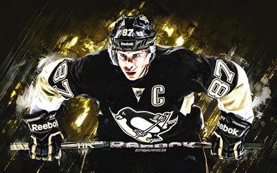 Sidney Crosby, Pittsburgh Penguins, Canadian hockey player, NHL, hockey, USA, National Hockey League, yellow stone background