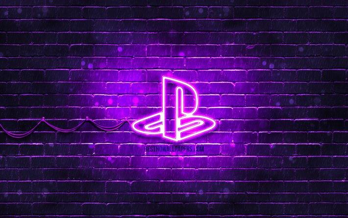 Download Wallpapers Playstation Violet Logo 4k Violet Brickwall Playstation Logo Brands Playstation Neon Logo Playstation For Desktop Free Pictures For Desktop Free