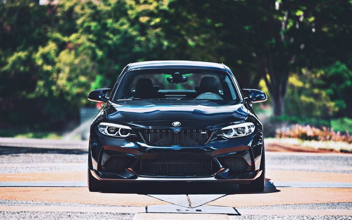 BMW M2, F87, front view, 2020 cars, tuning, black M2, german cars, BMW