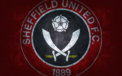 Sheffield United FC, English football club, red stone background, Sheffield United FC logo, grunge art, Premier League, football, England, Sheffield United FC emblem