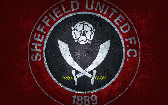 Sheffield United FC, clube de futebol inglês, fundo de pedra vermelha, logotipo do Sheffield United FC, arte do grunge, Premier League, futebol, Inglaterra, emblema do Sheffield United FC