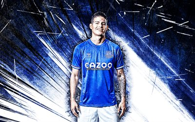 4k, James Rodriguez, grunge art, Everton FC, colombian footballers, soccer, James David Rodríguez Rubio, Premier League, James, football, James Rodriguez 4K, blue abstract rays, James Rodriguez Everton