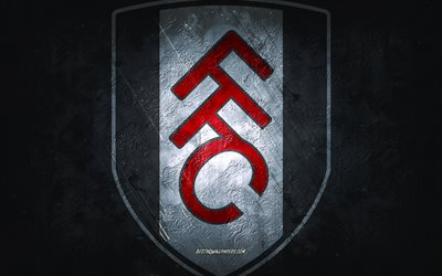 Fulham FC, English football club, gray stone background, Fulham FC logo, grunge art, Premier League, football, England, Fulham FC emblem