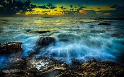 sunset, coast, ocean, waves, Australia, New South Wales, Newcastle