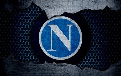 Scarica sfondi Napoli, 4k, arte, Serie A, calcio, logo, club di calcio, SSC Napoli, struttura del metallo per desktop libero. Immagini sfondo del desktop libero