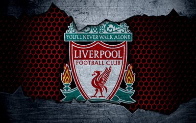 Download wallpapers Liverpool FC, 4k, football, Premier League, England, emblem, Liverpool logo, football club, Liverpool, UK, metal texture, grunge for desktop free. Pictures for desktop free