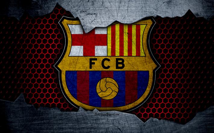 Download Wallpapers Fc Barcelona 4k La Liga Football Emblem