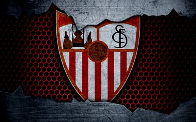 FC Sevilla, 4k, La Liga, football, emblem, Sevilla logo, Sevilla, Spain, football club, metal texture, grunge