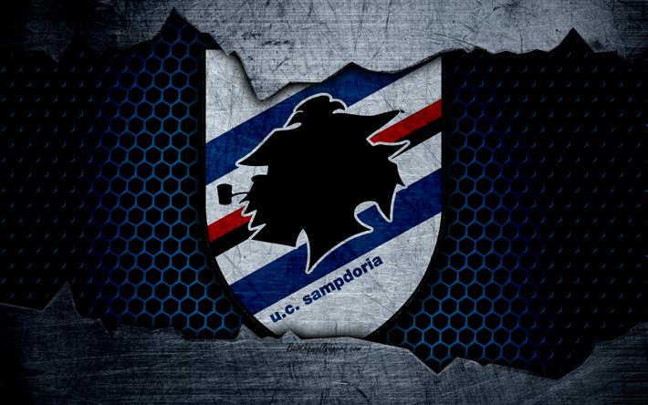 scarica sfondi sampdoria 4k arte serie a calcio logo
