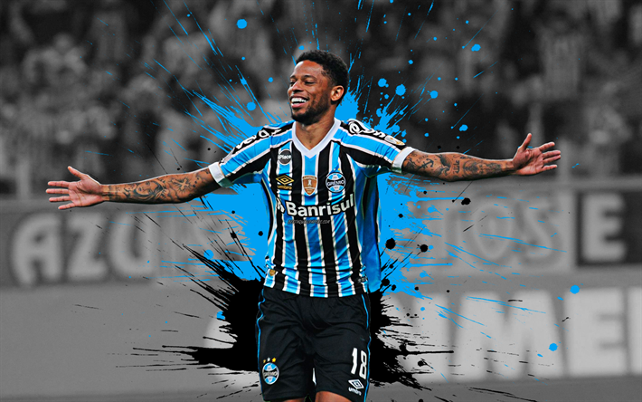 Andre, 4k, art, Gremio FC, Brazilian football player, splashes of paint, grunge art, creative art, Serie A, Brazil, football, Andre Felipe Ribeiro de Souza