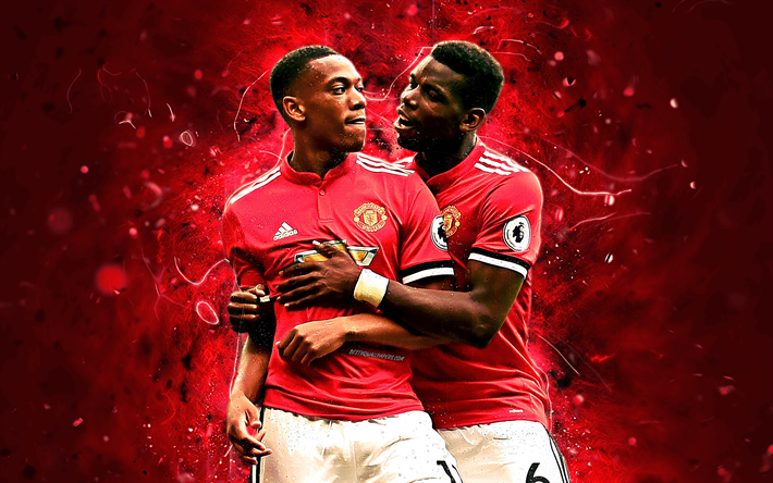 Download Wallpapers Anthony Martial, Paul Pogba, Goal