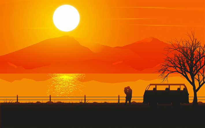 love couple, abstract summer landscape, sunset, abstract nature backgrounds, summer, love concepts