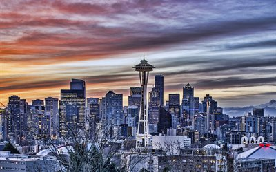 Seattle, Space Needle, evening, sunset, skyscrapers, Seattle cityscape, American city, Washington, USA