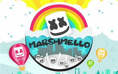 DJ Marshmello, fan art, superstars, creative, Christopher Comstock, american DJ, Marshmello, Cartoon Marshmello, music stars, abstract art, DJs