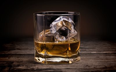 Whiskey with ice, glass cup, ice cubes, wooden table, Whiskey