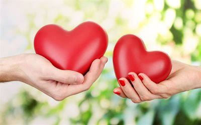hearts in hands, 4k, love concepts, two hearts, hands, green blurred background