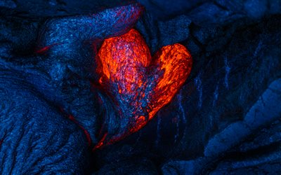 lava heart, 4k, love concepts, 3D art, fire heart, artwork, hearts, lava