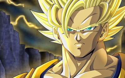 4k, Golden Goku, fan art, Goku SSJ3, lightings, Dragon Ball Super, artwork, DBZ, Goku Super Saiyan 3, manga, DBS, Son Goku