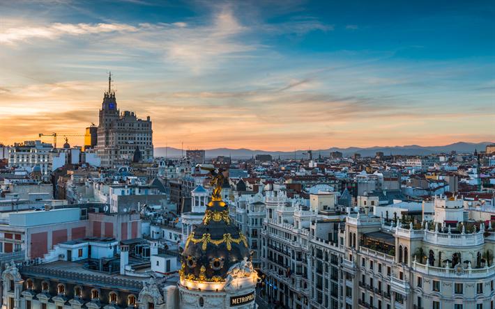 Descargar fondos de pantalla 4k, Madrid, Gran Vía, paisajes ...