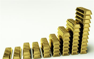 Gold price increase, gold bullion chart, gold concepts, 3d gold bars, white background, finance concept, deposits concepts