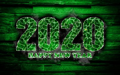 2020 green fiery digits, 4k, Happy New Year 2020, green wooden background, 2020 fire art, 2020 concepts, 2020 year digits, 2020 on green background, New Year 2020