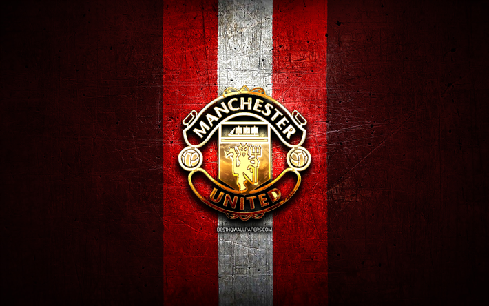 Download Wallpapers Manchester United Fc Golden Logo Premier League Red Metal Background Football Manchester United English Football Club Manchester United Logo Soccer England Man United For Desktop Free Pictures For Desktop Free