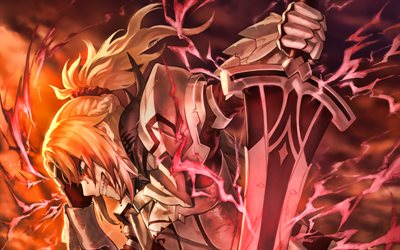 Red Saber, 3D art, Fate Apocrypha, Saber of Red, lightings, Fate Grand Order, manga, sword, Fate Series, TYPE-MOON