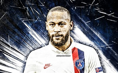 4k, Neymar, grunge art, futebolistas brasileiros, PSG, Ligue 1, close-up, Neymar da Silva Santos Junior, Neymar 4K, uniforme branco, raios abstratos azuis, futebol, Paris Saint-Germain, Neymar JR