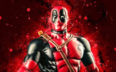 Deadpool, 4k, luci al neon rosse, supereroi, Marvel Comics, Deadpool 4K, Cartoon Deadpool
