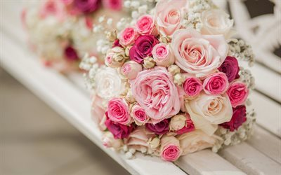 beautiful bouquet, bouquet of roses, white roses, pink roses, wedding bouquet
