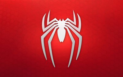 Spiderman logo, 4k, red background, superhero, Spiderman