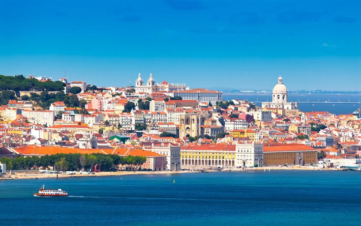 Lisbon, Portugal, 4к, capital, Тахо, Western Europe, old city, summer