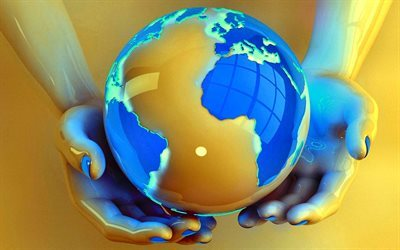 3d globe 3d people, concepts, globe in hands, Earth