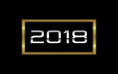 2018 Year, New Year, black background, 2018 concepts, golden symbols