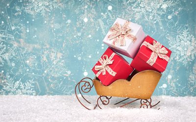 Christmas gifts, sleds, New Year, snow, winter, holiday concepts