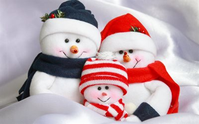snowman family, New Year, Christmas, snowman, toys