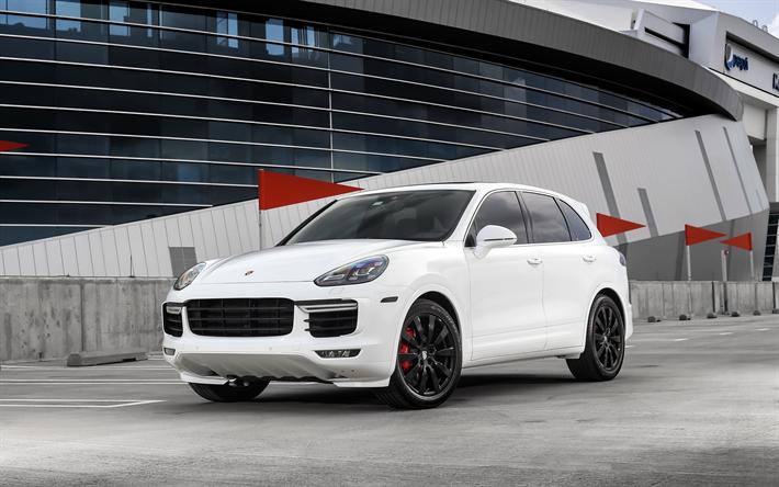 Download Wallpapers Porsche Cayenne Turbo 2017 White Luxury Suv Tuning Cayenne Black Wheels German Cars Porsche For Desktop Free Pictures For Desktop Free