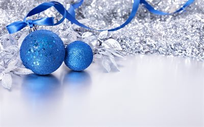blue christmas balls, New Year, 2018, Christmas, concept, decoration, blue silk ribbon