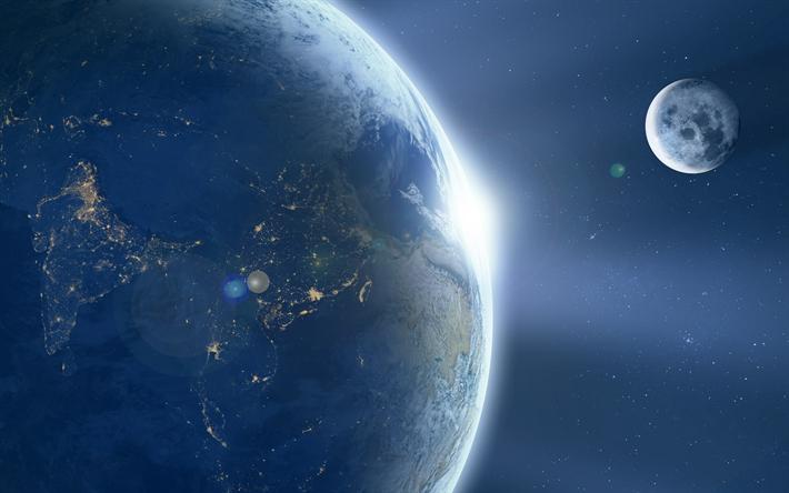 Scarica Sfondi 4k La Terra La Luna Sci Fi Galassia Universo Tv