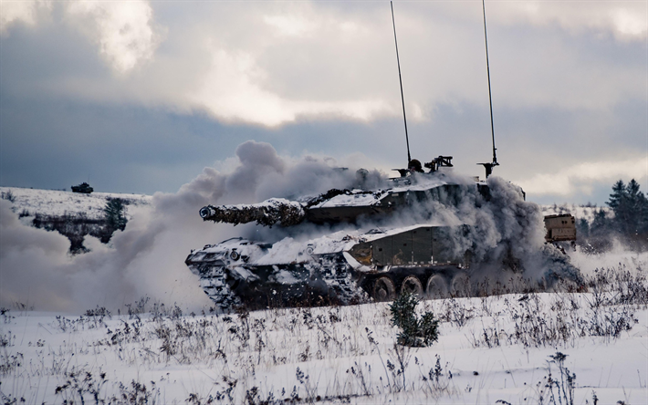 Leopard 2A6, German tank, Canadian army, winter, snow, modern tanks, armored vehicles, MBT, Canadian Armed Forces
