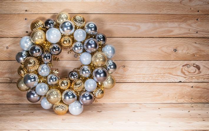 Kranz Aus Weihnachtskugeln.Herunterladen Hintergrundbild Adventskranz Neues Jahr